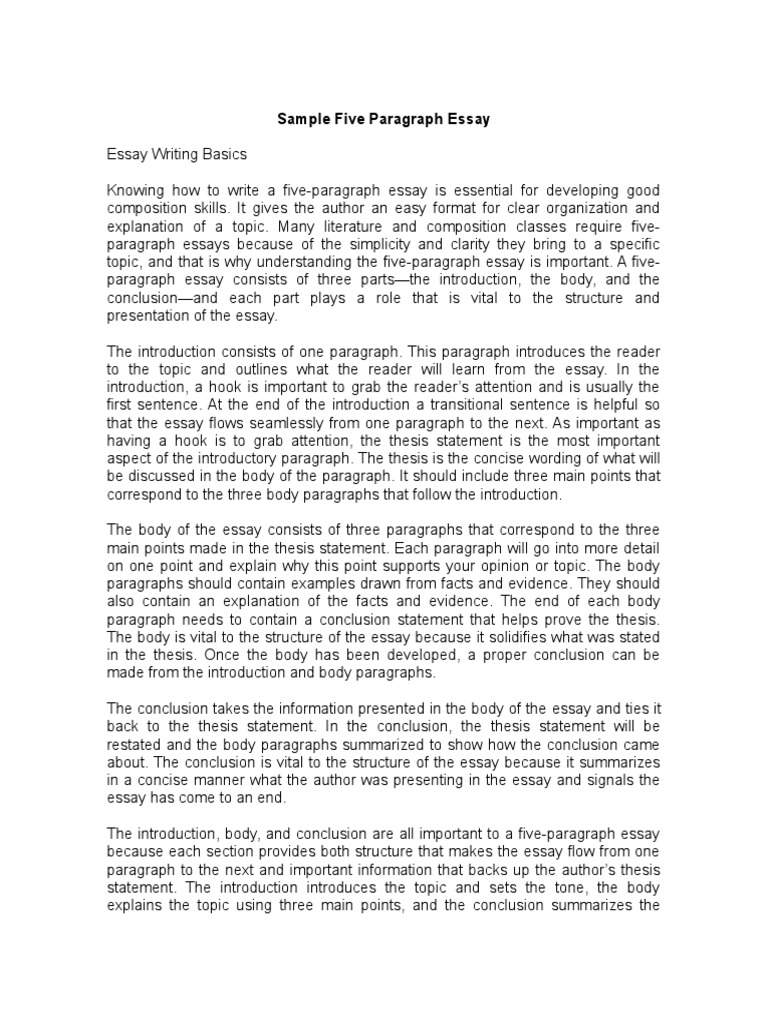 Example Of A 5 Paragraph Essay With A Thesis Statement