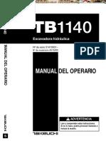 Manual Operacion Mantenimiento Excavadora Tb1140 Takeuchi