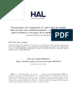 Gouvernance de l'Entreprise Et Cadre Légal de l'Audit Dans La Zone Euro Méditerranéenne . Une Comparaison Entre La France Et Les Pays de La Méditerranée Arabe