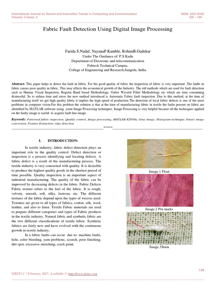 Fabric Fault Detection Using Digital Image Processing | Textiles | Computer  Vision