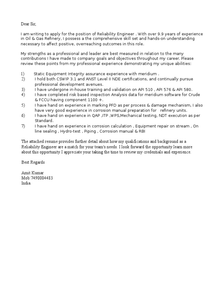Superb Refinery Inspector Cover Letter Corporate Facility Operations