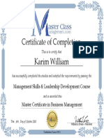 MasterClassManagement Certificate - Karim William