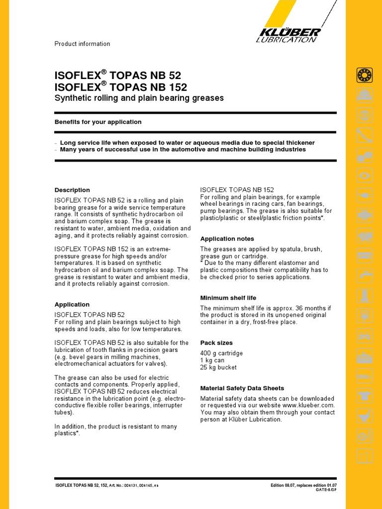 ISOFLEX_TOPAS_NB_52 | Bearing (Mechanical) | Motor Oil