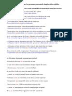 Exercices Sur Les Pronoms Personnels Simples Et Invariables