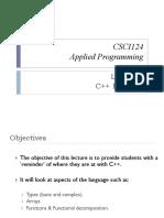 CSCI124-Lesson 1 (C++ Revision)