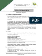 ESPECIFICACIONES TECNICAS POCOLLAY