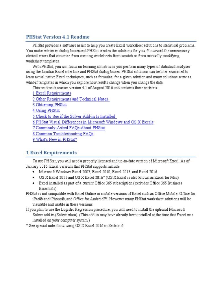 Phstat download excel 2013.