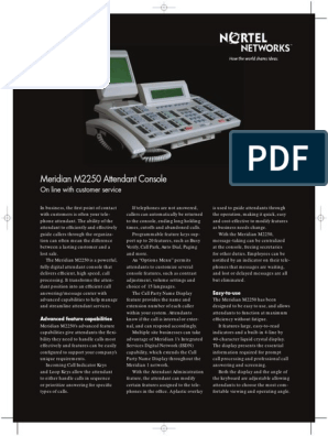 Meridian M2250 Datasheet | Telephone | Command Line Interface