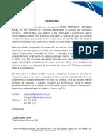 Comunicado Total Petroleum Services SAS