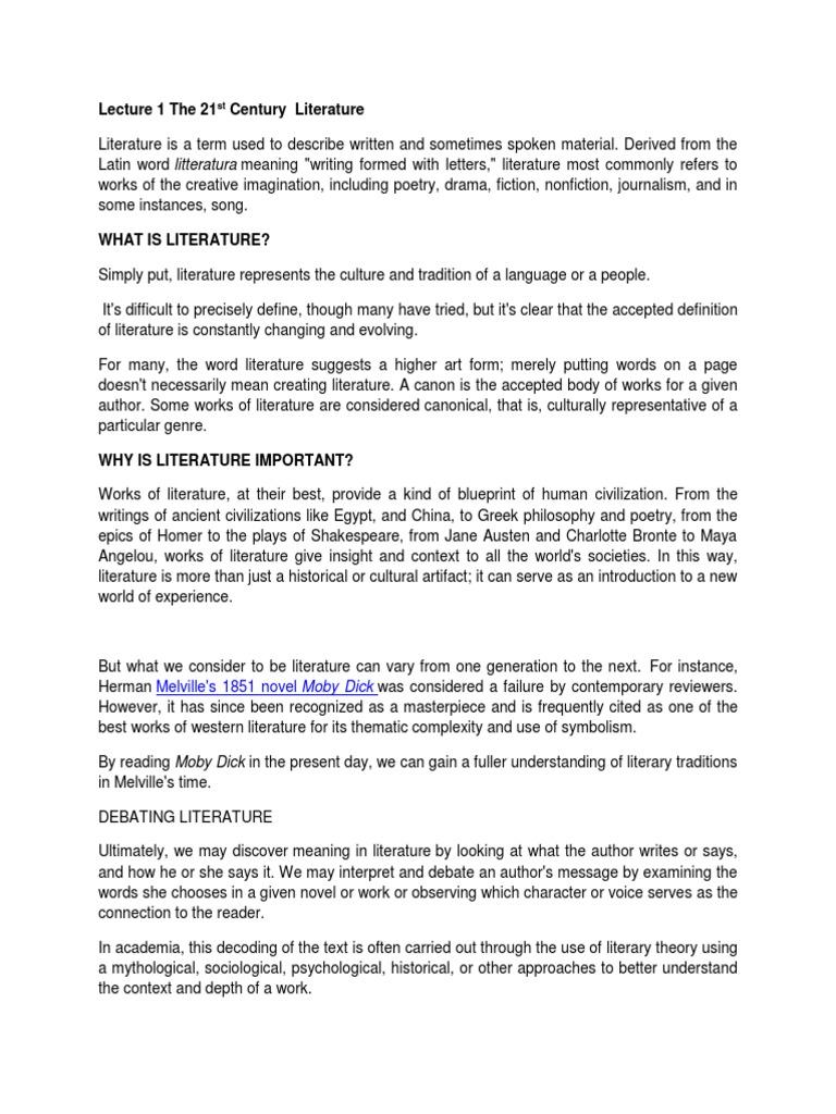 Lecture 1 The 21st Century Literature Narration Narrative