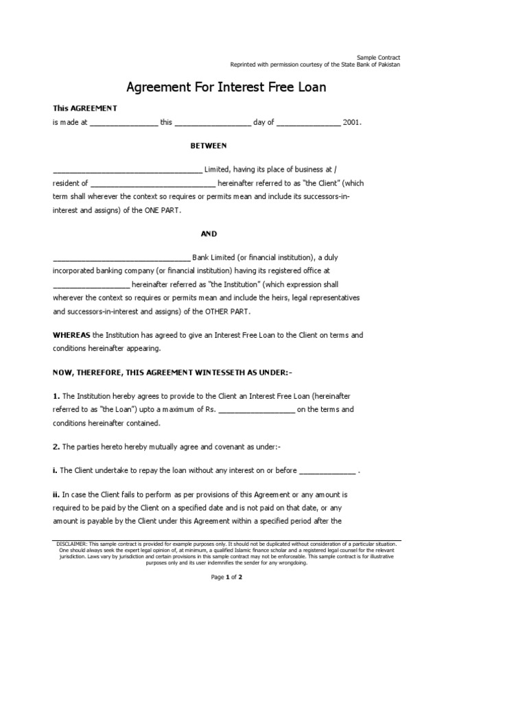 Sample Agreement for an Interest Free Islamic Loan – Sample Contract of Loan