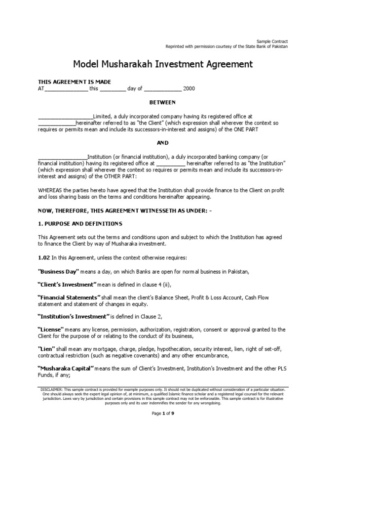 Musharakah Investment Agreement   Islamic Banking And Finance   Assignment  (Law)