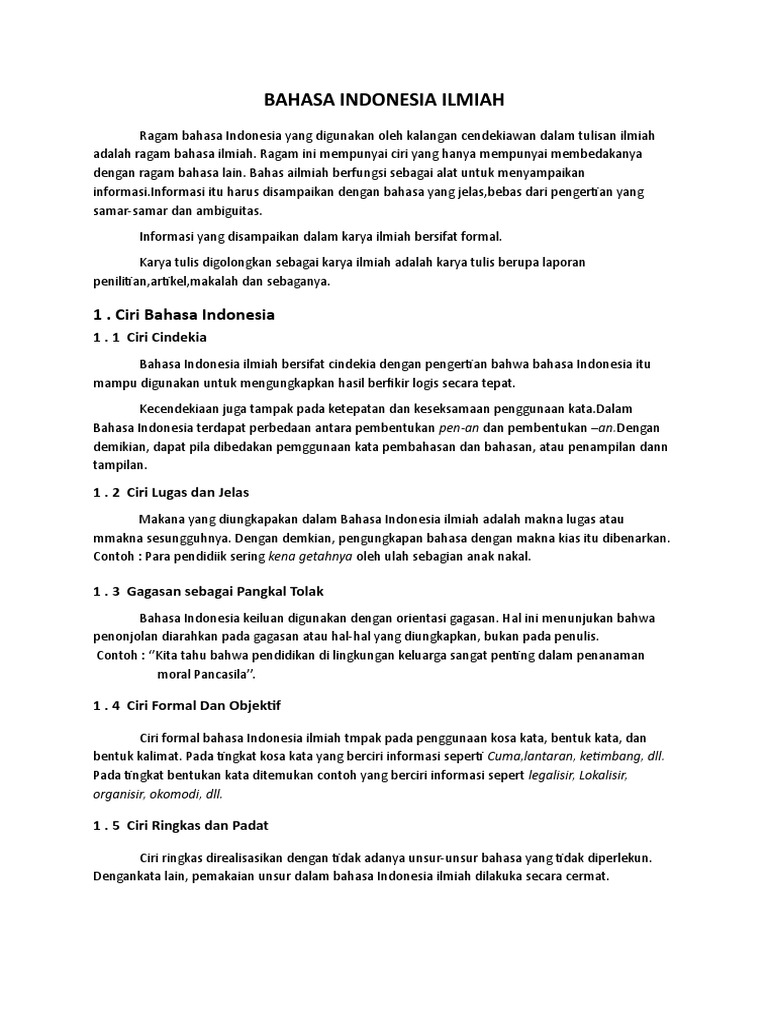 Contoh Laporan Karya Ilmiah Bahasa Indonesia Kumpulan Contoh Laporan