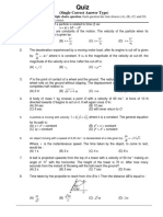 Kinematics Quiz