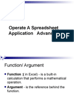 2 operate a spreadsheet application advance