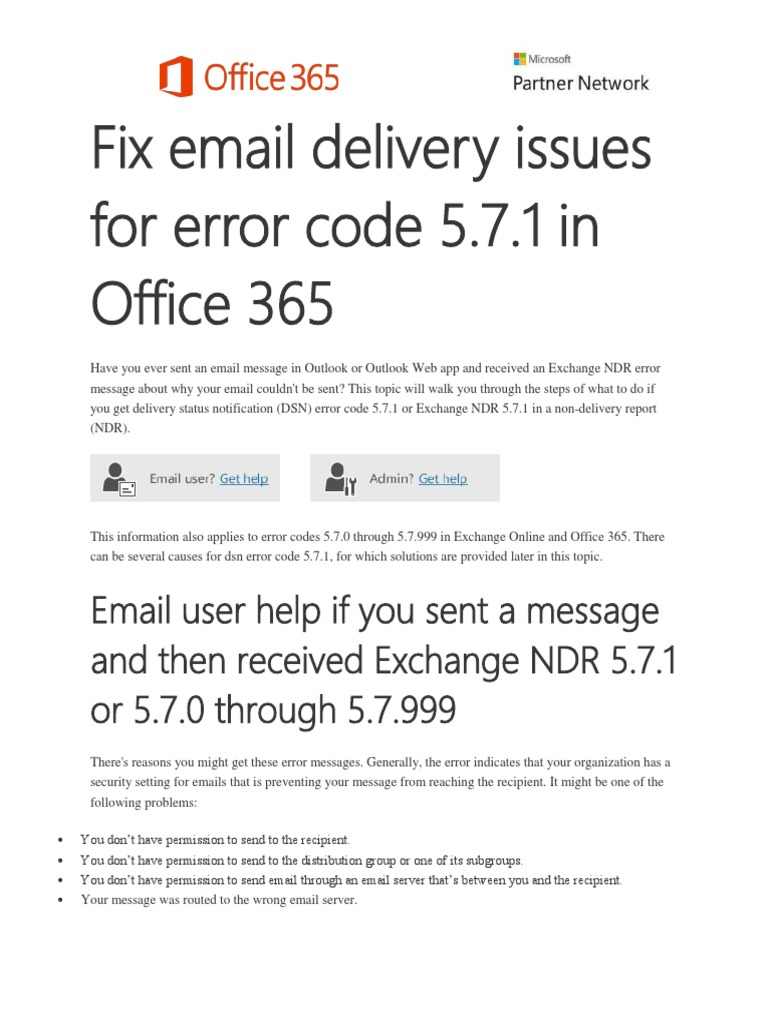 Fix Email Delivery Issues for Error Code 5 7 1 in Office 365 | Email