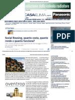 Social Housing, Quanto Costa, Quanto Rende e Quanto Funziona