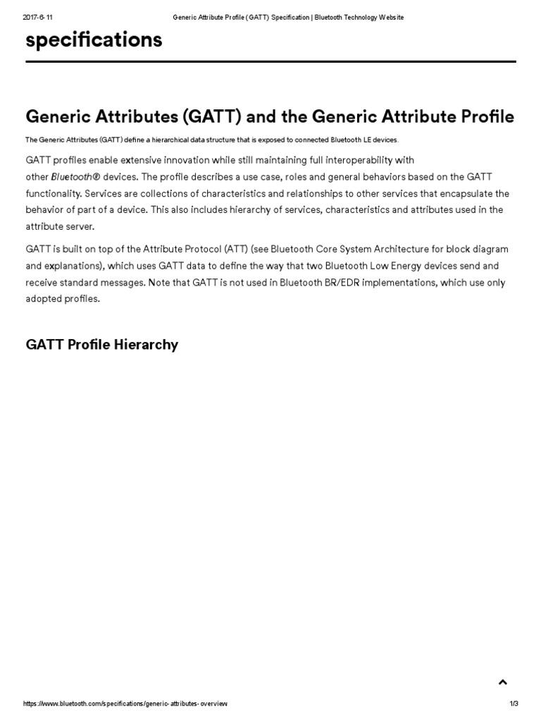 Generic Attribute Profile (GATT) Specification _ Bluetooth