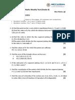 Weekly Test Gr-10 on Co-Ordinate Geometry Paper-1