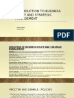 Introduction to Business Policy and Strategic Management