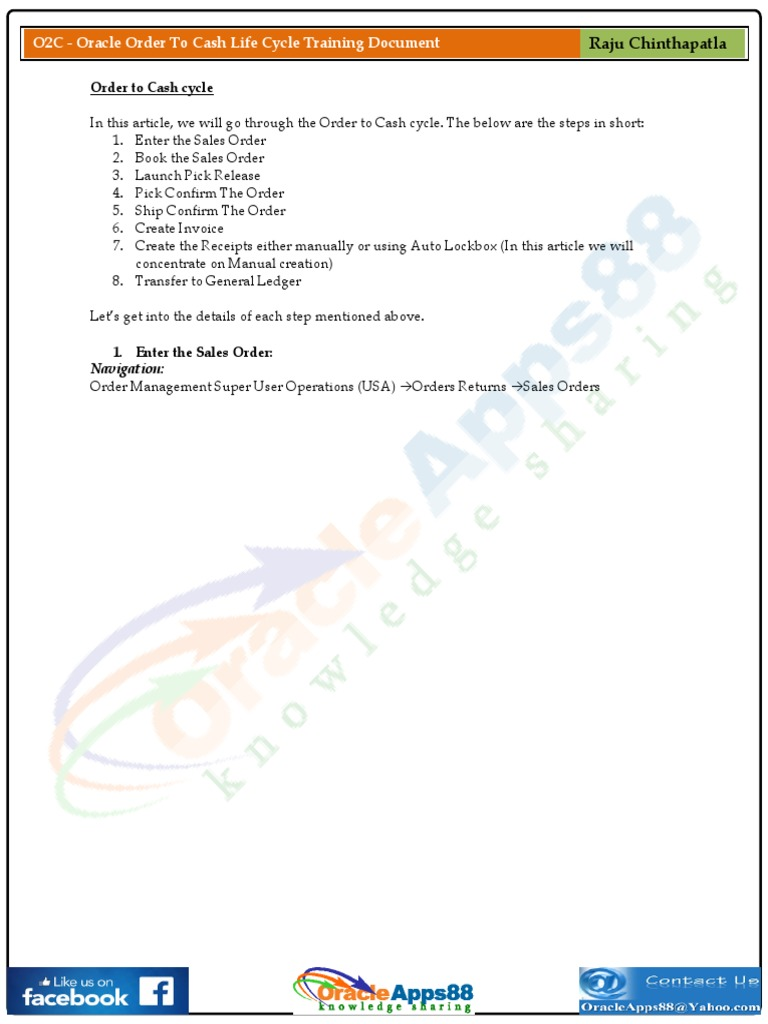 O2C - Oracle Order to Cash Life Cycle Training Document