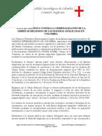 Nota de protesta de la Comisión Anglicana del Cabildo Interreligioso de Colombia - 11 de Junio de 2017