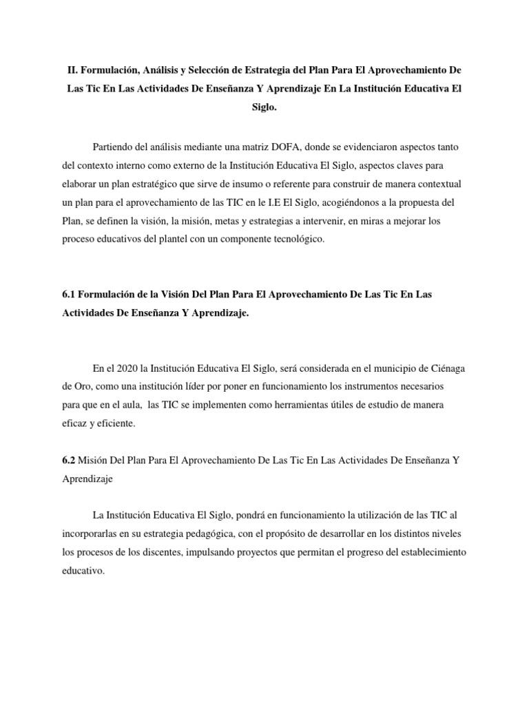 Formulación, Análisis y Selección de Estrategia del Plan Para El ...