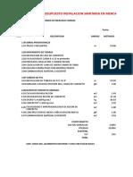 Presupuesto Instalacion Sanitaria Comzac