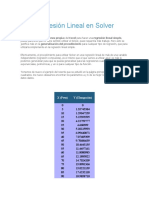 Regresión Lineal en Solver