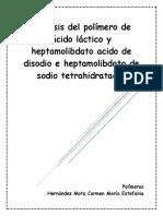 Síntesis Del Polímero de Ácido Láctico y Heptamolidado Acido de Disodio e Heptamolibdato de Amonio