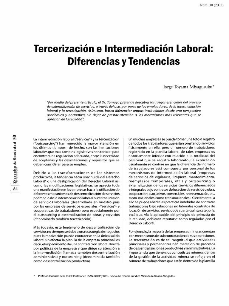 Tercerización e Intermediación Laboral; Diferencias y Tendencias ...