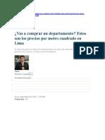 Comprar Un Departamento-Estos Son Los Precios Por Metro Cuadrado en Lima