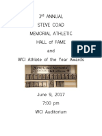Woodstock Collegiate Institute Steve Coad Memorial sports wall of fame program