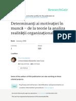 Determinanţi ai motivaţiei în muncă – de la teorie la analiza realităţii organizaţionale
