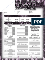 Beast the primordial one page character sheet