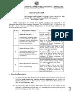 Notification Regarding Dibrugarh University Post Graduate Admission Test Dupget 2017
