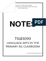 TSLB3093 Language Arts in the Primary ESL Classroom COMPLETE BRIEF SHORT NOTES