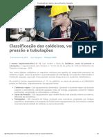 Classificação Das Caldeiras, Vasos de Pressão e Tubulações