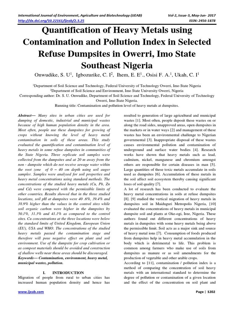 Quantification of Heavy Metals using Contamination and Pollution