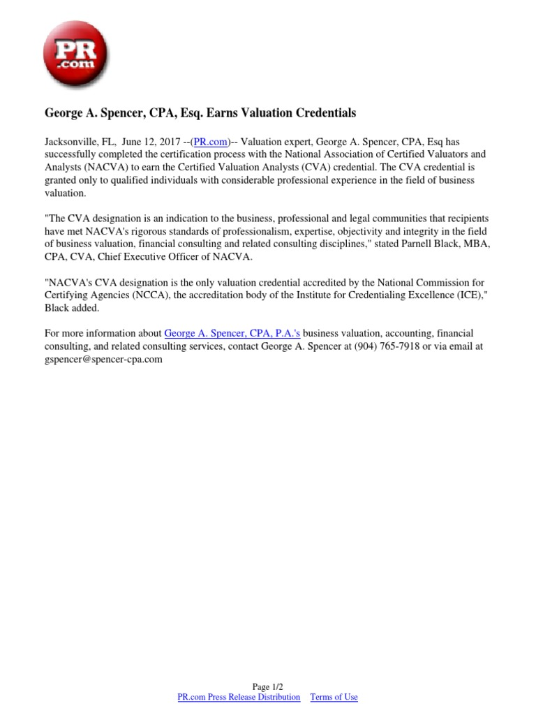 George a spencer cpa esq earns valuation credentials george a spencer cpa esq earns valuation credentials professional titles and certifications professional certification 1betcityfo Choice Image