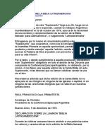 Declaración Sobre La Biblia Latinoamericana (Conferencia Episcopal Argentina)