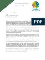 Carta CONPAZ a Santos y ELN