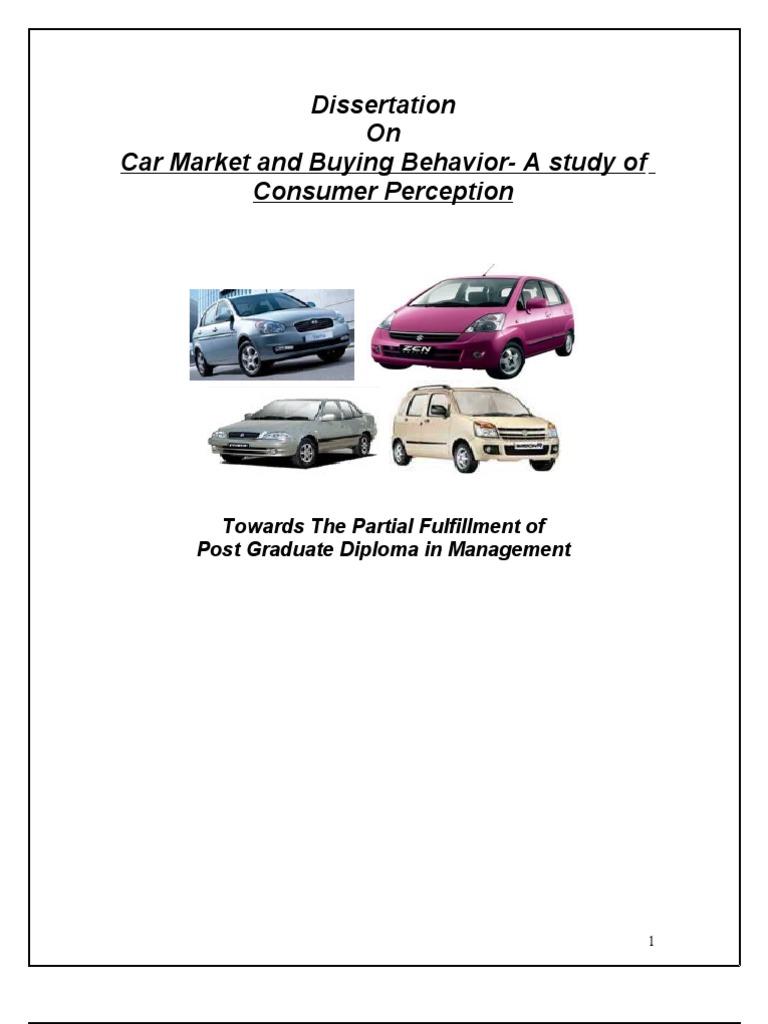 dissertation car market buying behavior study consumer perception