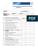 Guía de Observacion Para Alumnos Con Necesidades Educativas Específicas