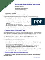 Pharm Droit-5an-Organisation Administrative Et Professionnel de La Pharmacie