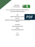 informe de un formateo e instalacion de sistema operativo windows 10