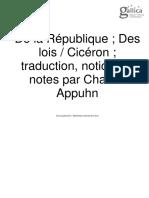 CICERON, De la République. Des lois, trad. Charles Appuhn, 1985