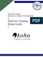 Anatolia Libraries - Catalog Help Guide