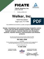 Current ISO Cert 3358 Welker Inc 9001 A4
