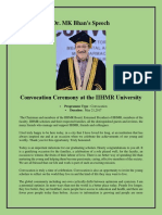 Dr MK Bhan Speech at Convocation Ceremony 2017 - IIHMR University